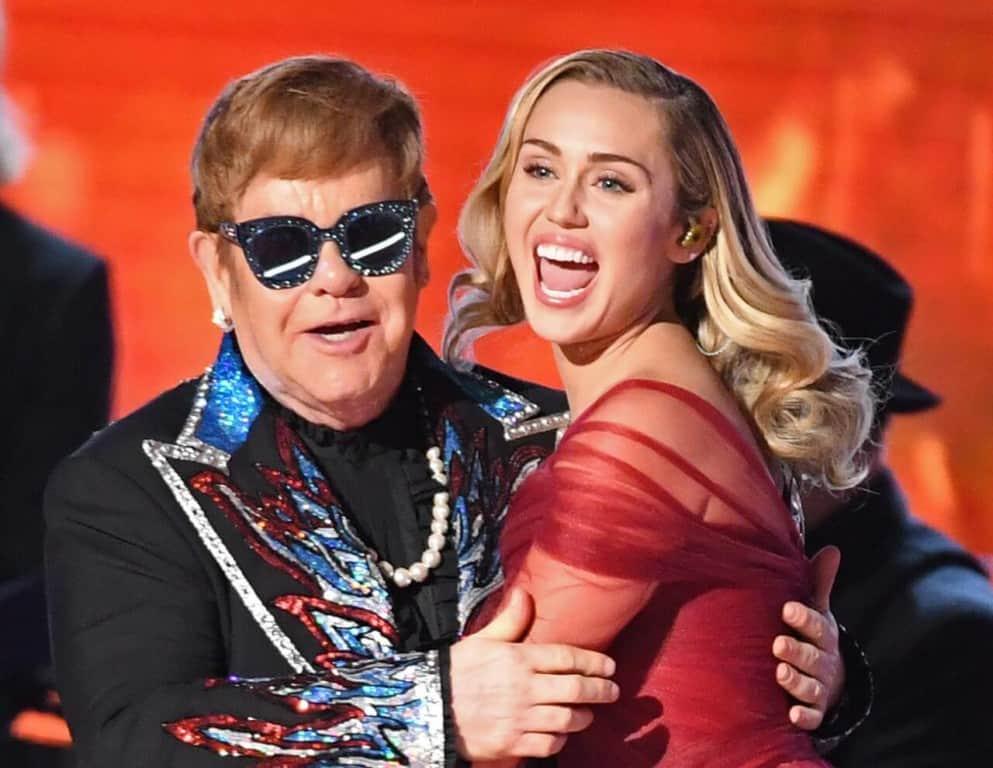 Miley Cirus and Sir Elton John